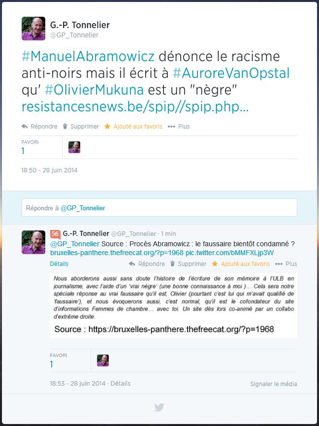 """Manuel Abramowicz dénonce le racisme anti-noirs mais il écrit à Aurore Van Opstal qu'Olivier Mukuna est un """"nègre"""""""